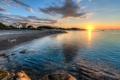 Картинка море, пейзаж, закат, дома