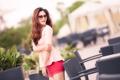Картинка девушка, фон, улица, азиатка