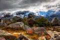 Картинка небо, облака, снег, горы, камни, склон, Argentina