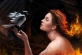 Картинка девушка, огонь, птица, арт