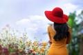 Картинка цветы, девушка, шляпка