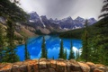 Картинка лес, деревья, горы, природа, озеро, камни, скалы