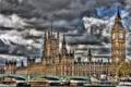 Картинка мост, река, часы, Англия, Лондон, HDR, Темза