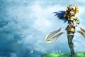 Картинка трава, девушка, птицы, арт, league of legends, Irelia, CaCD