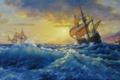 Картинка Паруса, шторм, корабли., красота, море