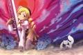 Картинка Цветы, Девушка, Оружие, Mahou Shoujo Madoka Magica, Tomoe Mami, Румянец, Kyuubee
