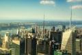 Картинка дома, небо, шпиль, сша, река, new york, небоскреб