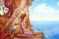 Картинка море, небо, вода, девушка, спина, часы, ключ