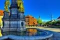 Картинка памятник, фонтан, Загреб, небо, площадь Каптол, дома, ангел