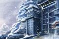 Картинка зима, снег, горы, замок, здание, ворота, арт