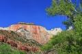 Картинка небо, деревья, пейзаж, горы, скала, склон