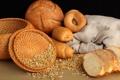 Картинка корзина, зерно, хлеб, бублики, выпечка, булочки