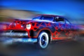Картинка ретро, пламя, коллаж, узор, автомобиль, бампер