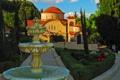 Картинка деревья, парк, дорожки, Греция, фонтан, храм, монастырь