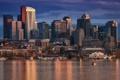 Картинка город, бухта, небоскребы, вечер, США, Бостон