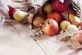 Картинка осень, листья, яблоки