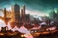 Картинка город, люди, скалы, арт, руины, арки, летающий