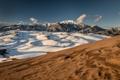 Картинка песок, облака, небо, холмы, горы, снег