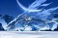 Картинка лед, девушка, снег, оружие, меч, зверь, art
