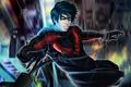 Картинка полет, город, огни, маска, арт, мужчина, Fallen Nightwing