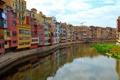 Картинка небо, река, дома, Испания, Жирона