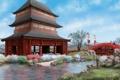 Картинка мост, река, ручей, люди, азия, здание, арт