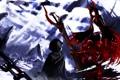 Картинка рога, красные глаза, black rock shooter, Black Gold Saw, стрелок с Черной Скалы, отражение Сайя ...