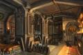 Картинка оружие, свечи, колонны, печь, помещение, кузница