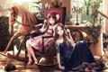 Картинка комната, лошадь, девочки, игрушки, кресло, арт, телефон