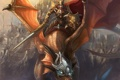 Картинка магия, дракон, меч, воин, всадник