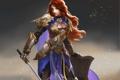 Картинка девушка, меч, доспехи, воин, арт, щит, красные волосы