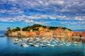 Картинка небо, облака, город, фото, побережье, Италия, катера