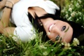 Картинка smile, look, brunette, pretty girl, grass