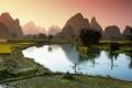 Картинка озеро, лодки, Вьетнам
