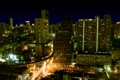 Картинка город, ночь, небоскребы, дома, огни
