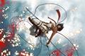 Картинка девушка, полет, Attack on Titan, Mikasa Ackerman, клинки. кровь