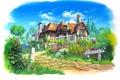 Картинка magewappa z, пейзаж, дорожка, особняк, арт, зелень, дом