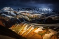 Картинка тени, холмы, Исландия, горы, снег, свет
