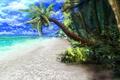 Картинка море, пляж, тропики, пальмы, океан, арт