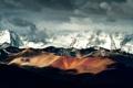 Картинка облака, тени, горы, снег, свет, China, китай