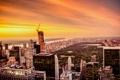 Картинка небо, деревья, закат, Нью-Йорк, США, небоскрёбы, Центральный парк