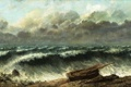 Картинка море, волны, небо, тучи, шторм, лодка, буря