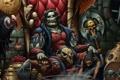 Картинка оружие, птица, кресло, арт, черепа, сундук, грифон