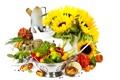 Картинка зелень, подсолнухи, ведро, перец, миска, овощи, лопата