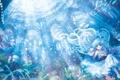 Картинка цветы, пузырьки, рыбка, рыба, мальчик, платье, арт
