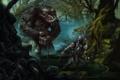 Картинка оружие, человек, болото, змея, Существо, фэнтази.