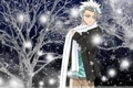 Картинка зима, снег, ночь, шарф, Аниме, парень, Bleach