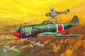 Картинка небо, рисунок, истребитель, бой, арт, воздушный, бомбардировщик