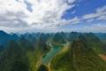 Картинка лес, небо, облака, деревья, горы, природа, река