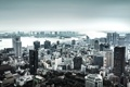 Картинка город, city, сверху, панорама, дома, река, небоскребы